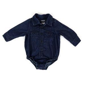 OSHKOSH denim button down onesie, boy's size 9M